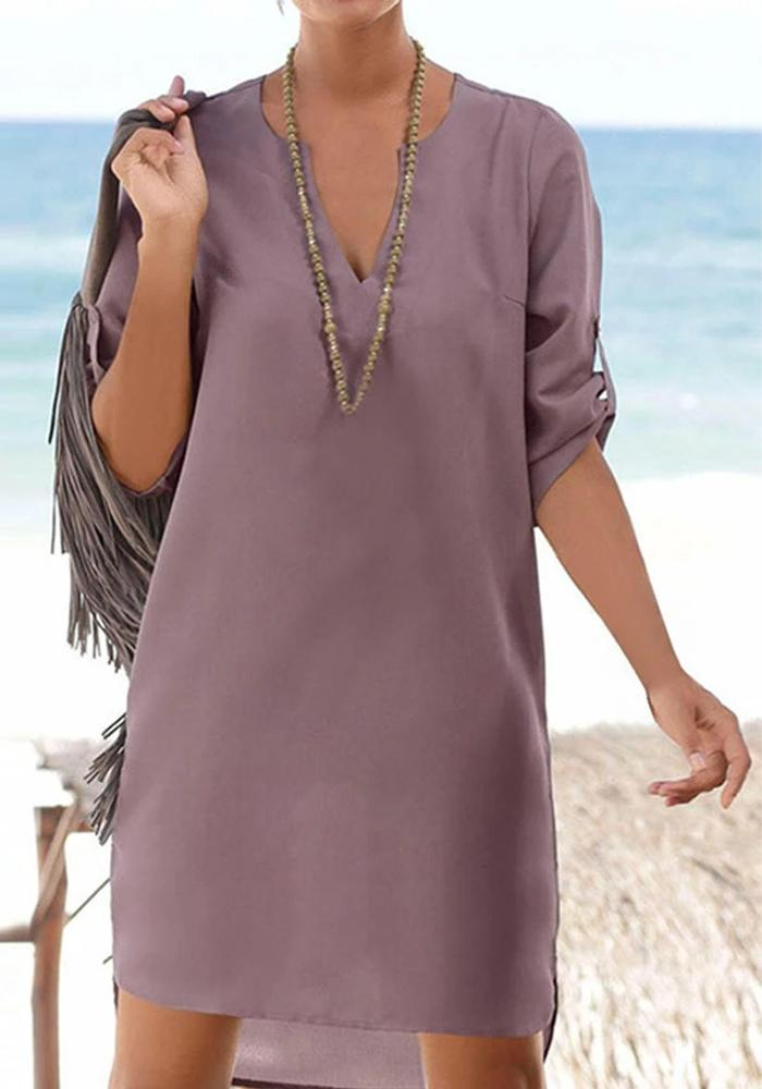 Casual V Neck Solid Loose Shirt Dress Cotton Polyester