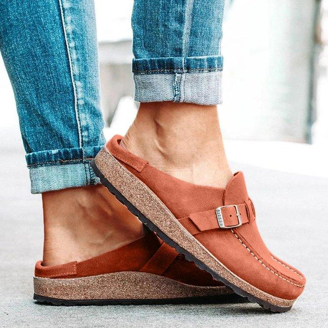 Women Casual Comfy Clogs Suede Leather