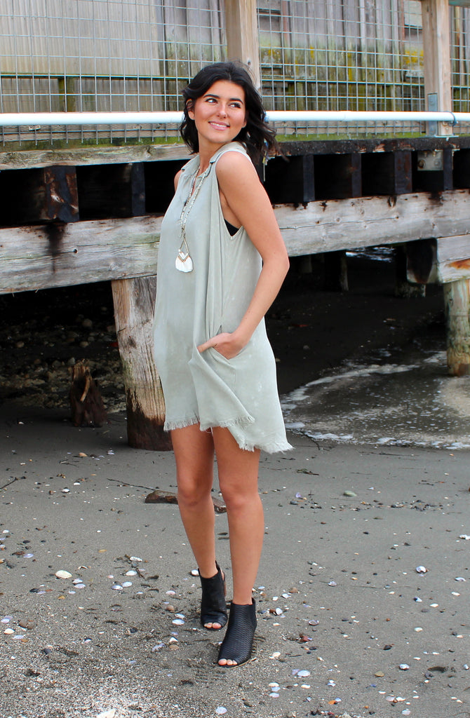 Stone Wash Shirt Dress