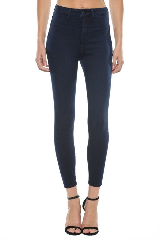 Dark High Waist Rayon Skinnies