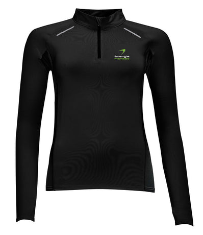 Ladies Indoor 1/4 Zip Sweat Top énergie branded in Black