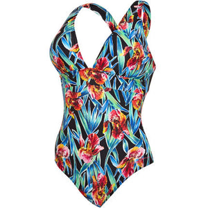 Zoggs Womens Hybrid Tropics Wide X Back Swimsuit
