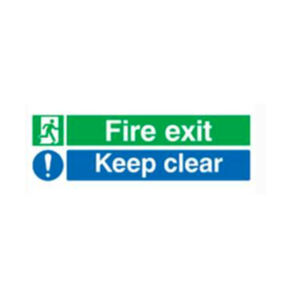Self Adhesive Vinyl 150 x 450 mm Safety Sign Fire Exit/ Keep Clear