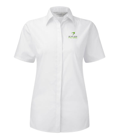 FRANCHISEE ONLY Ladies Short Sleeve Formal Shirt énergie branded in White