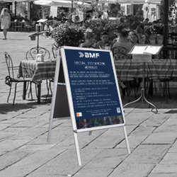 BMF A Board with Social Distancing Workout Protocol Posters
