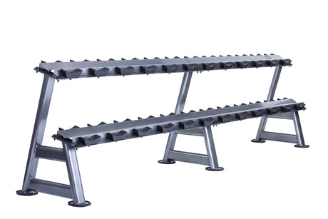 12 pair, 2 tier dumbbell rack with saddles, oval silver frame