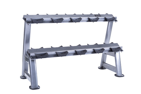 5 pair, 2 tier dumbbell rack with saddles, oval silver frame
