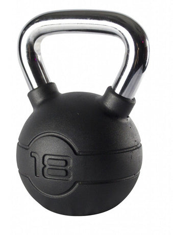 4-24kg Black Rubber Chrome Handle Kettlebell Set (10 Kettlebells)
