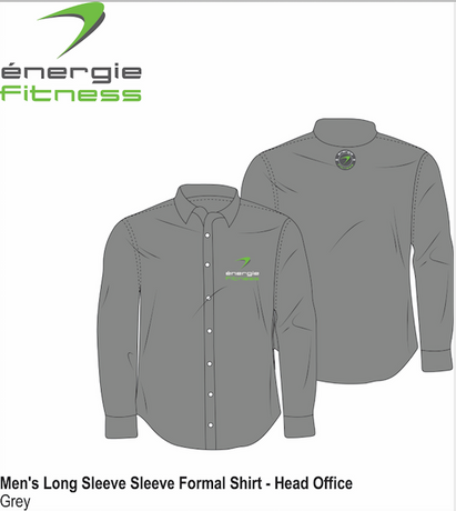 HEAD OFFICE ONLY Men's Long Sleeve Formal Shirt énergie branded in Grey
