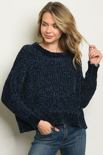 The Trends Chenille Navy Sweater