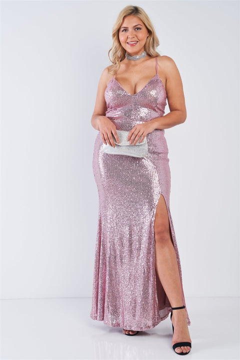 Plus Size Mauve Sequin V-neck Criss Cross Open Back Side Slit Maxi Dress