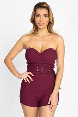 Romper Suit Belted Wine Tube - Celseaus
