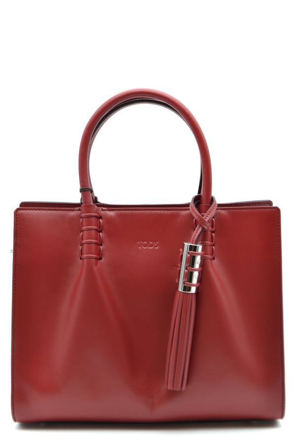 Apple Red Structured Tote Bag, Tod's