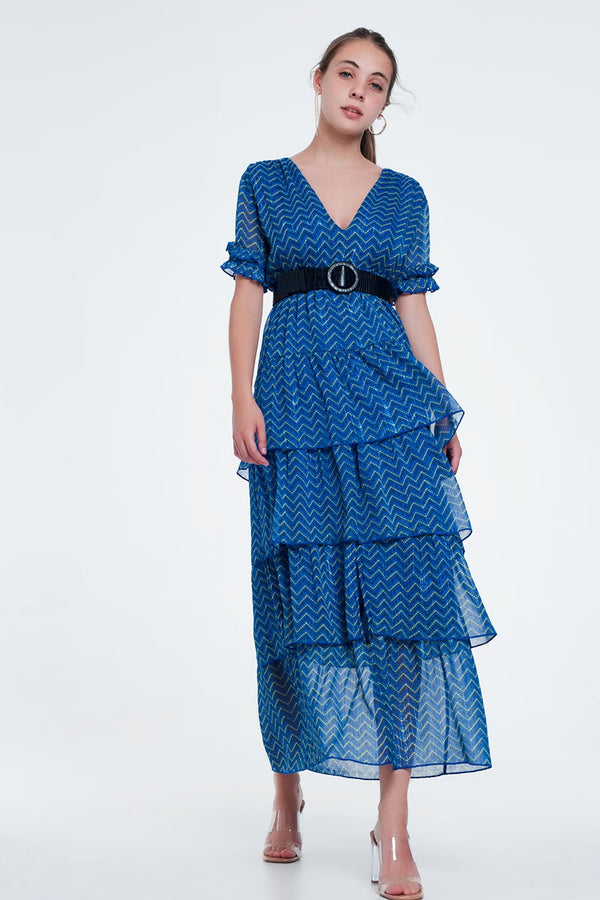 Casual Formal Blue Tiered Maxi Dress - Celseaus