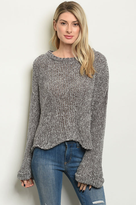 The Trends Chenille Gray Sweater