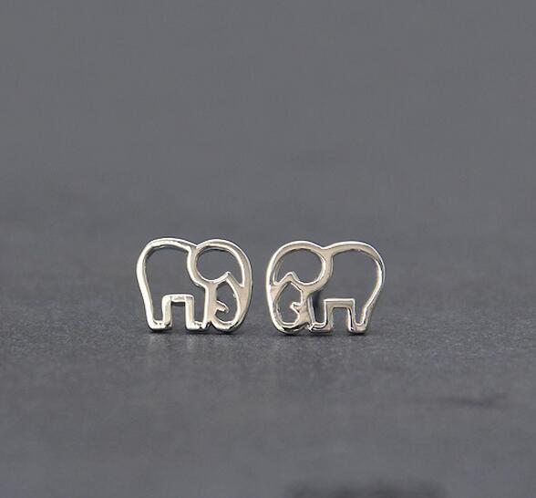 925 Sterling Silver Hollow Elephant Stud Earrings