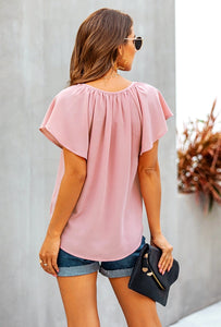 Eden Beach Ruffle Sleeve Blouse