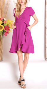 Eva Ruffle Edge Wrap Dress