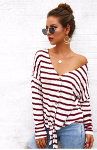 Monterey Bay Striped Front Knot Sweater