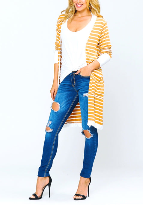 Rhylee Striped Duster Cardigan