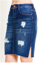 Load image into Gallery viewer, Rihanna Distressed Denim Skirt
