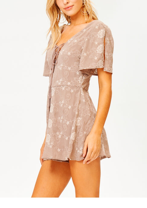 Sunset Key Lace Up Romper