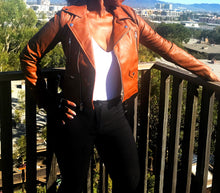 Load image into Gallery viewer, Caramel Moto Faux Leather Jacket