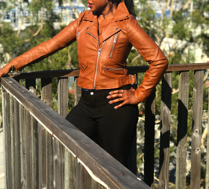 Caramel Moto Faux Leather Jacket