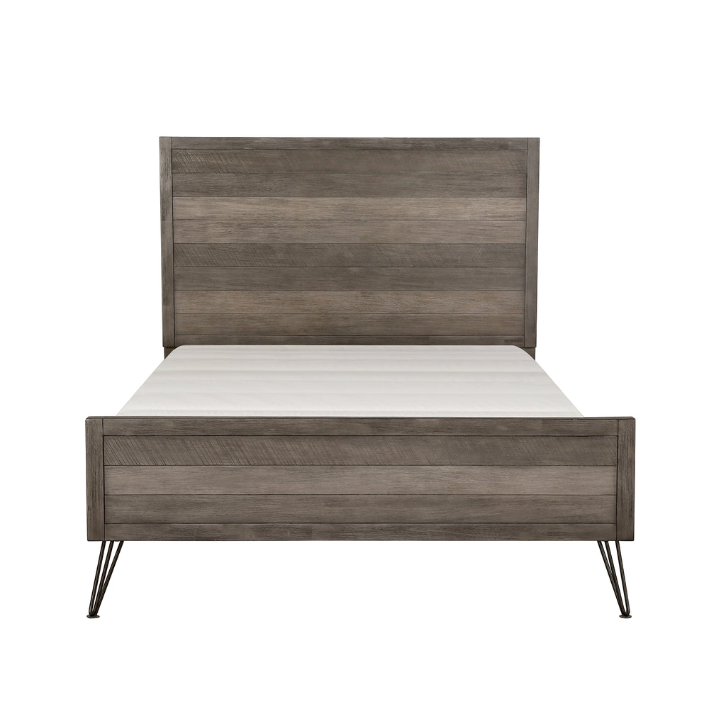 Raku Queen Bed, 3-tone Gray Finish