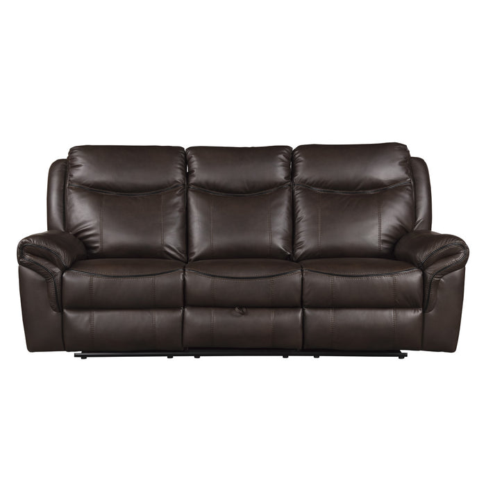"89"" Double Reclining Sofa with Center Drop-Down Cup Holders, Receptacles, Hidden Drawer and USB Ports"