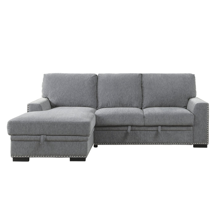 "Gray 96"" 2-Piece Sectional with Pull-out Bed and Left Chaise with Hidden Storage"