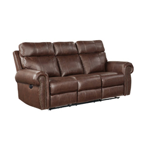 Microfiber Upholstered Power Reclining Sofa in Brown