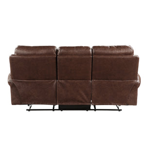 Microfiber Double Reclining Sofa in Brown