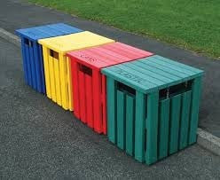 Coloured Wood Bins
