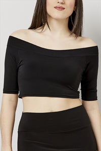 Love Kiki (Aria) - Jersey Knit Fitted Crop Top. Front view.