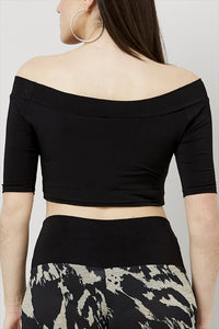 Love Kiki (Aria) - Jersey Knit Fitted Crop Top. Rear view.