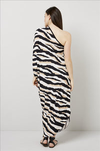 Love Kiki (Athena) - Jersey loose fit dress with single sleeve. Rear View 2