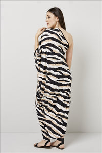 Love Kiki (Athena) - Jersey loose fit dress with single sleeve. Rear View 1