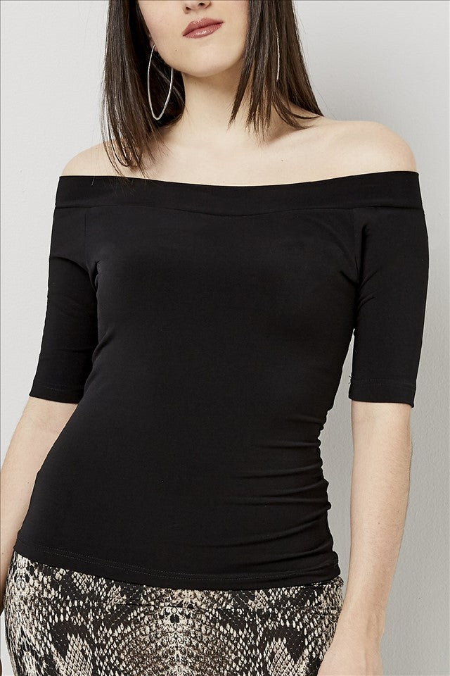 Love Kiki (Bridget) - Fitted black Jersey knit, off the shoulder top with a 3/4 sleeve. Front view.
