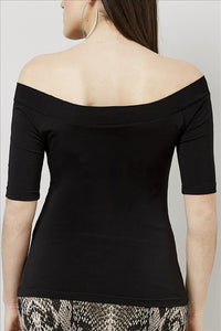 Love Kiki (Bridget) - Fitted black Jersey knit, off the shoulder top with a 3/4 sleeve. Rear view
