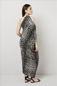 Love Kiki (Cleo) - Jersey loose fit Leopard print dress with single sleeve. Rear View