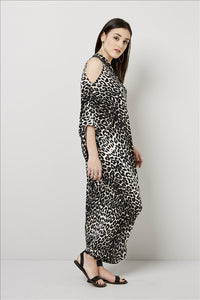 Love Kiki (Cleo) - Jersey loose fit Leopard print dress with single sleeve. Side View