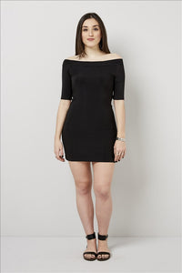 Love Kiki (Elise) - Black fitted mini dress. Front View