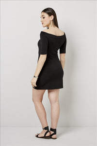 Love Kiki (Elise) - Black fitted mini dress. Rear View