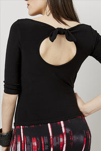 Love Kiki (Katya) - Black fitted Jersey knit, 3/4 sleeve, with peephole tie. Rear View