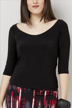 Load image into Gallery viewer, Love Kiki (Katya) - Black fitted Jersey knit, 3/4 sleeve, with peephole tie. Front View