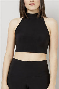 Love Kiki (Maddy) - Jersey Knit Fitted halter neck crop Top. Front View
