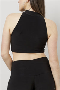 Love Kiki (Maddy) - Jersey Knit Fitted halter neck crop Top. Rear View.
