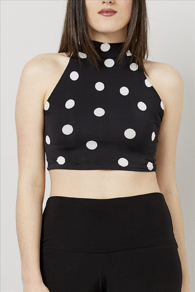 Love Kiki (Spot Maddy) - Fully lined, spotted, halter neck crop top. Front View