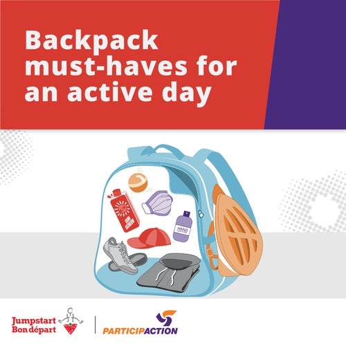 Backpack must-haves for an active day.